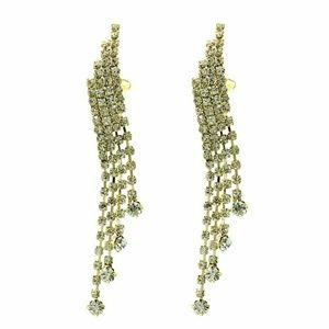 Rhinestone Chandelier Clip On Earrings